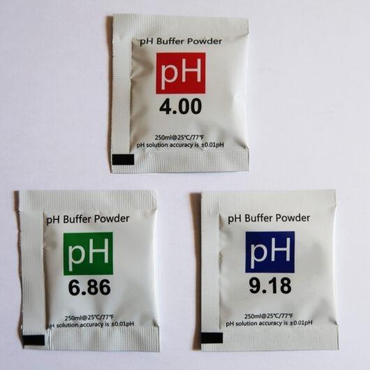 3 sobres de solución en polvo para calibrar medidores de pH