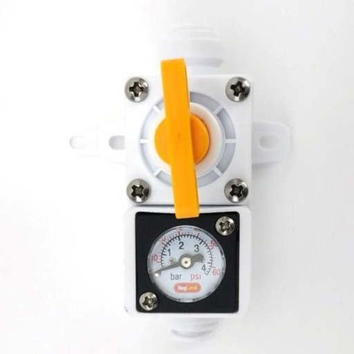 Regulador de presión en línea con manómetro 0-60 psi